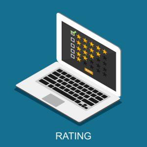 Laptop mit Bewertungsschema